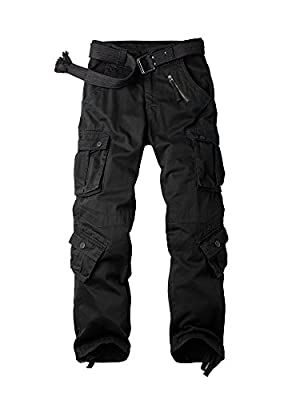 OCHENTA Men's Casual Pants, Military Cargo Work Combat 8 Pockets Relax Fit Trousers #3357 Black 36