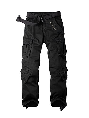 OCHENTA Men's Cotton Military Cargo Pants, 8 Pockets Casual Work Combat Trousers #3357 Black 38