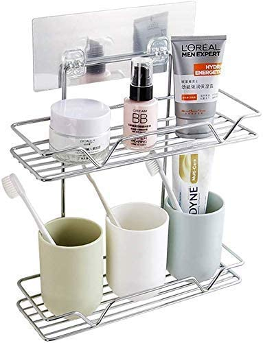 Zonku Stainless Steel Double Layer Bathroom Shower Shelf Organizer Wall Mounted Bathroom Soap, Shampoo, Toothbrush Holder Rack Organizer with Strong Magic Sticker- Silver product image
