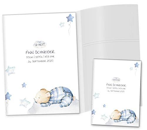 U-Hefthülle SET Sleepy Mond & Sterne Untersuchungsheft Hülle & Impfpasshülle Geschenkidee personalisierbar mit Namen & Geburtsdatum (U-Heft Set 3-teilig personalisiert, Bär)