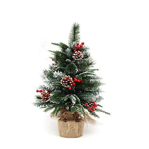 Décoration de Noël petits bonsaïs ornements d'arbre de 60 cm lin cône de pin de Noël cadeau de Noël arbre de Noël (Color : Green)