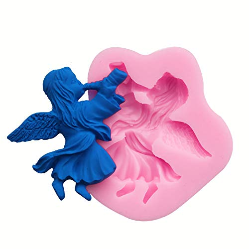 HengKe 2Pcs Miss conch,Fairy or Angel Silicone Mold for Gumpaste Sugar Craft Fondant Molds-Small Sugarcraft Cake Decoration, Cupcake Topper, Polymer Clay, Soap Wax Making Crafting Projects
