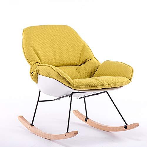 HLW Sports Jardín Terraza Sala de Estar Césped Sillón Mecedora Rocker Relax Tumbona de sillón reclinable Silla de relajación cómodo Asiento Acolchado (Color : Amarillo, tamaño : 90x74cm)