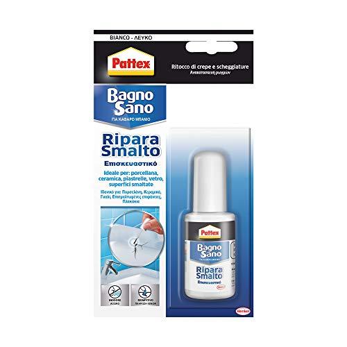 Pattex Bagno Sano Ripara Smalto, smalto acrilico a base acqua per ritocchi di scheggiature e graffi con effetto vernice, smalto bianco con potere riem