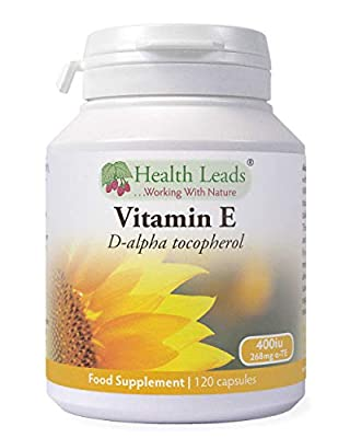 Natural Vitamin E 400iu x 90 capsules (100% Natural D-Alpha Tocopherol) from Health Leads UK