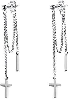 Cross Bar Front Back Tassel Threader Chain Dangle Drop Earrings for Men Women Boys Girls Stainless Steel Ball Stud Danglin...