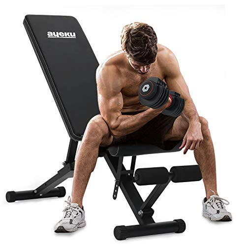 AyeKu Adjustable Weight Bench Strength Training Bench with MultiPosition and Quick Folding system for full Body workout at home gym2021 version