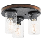 Kichler Barrington 11.5-in Distressed Black And Wood Flush Mount Light at Lowes.com