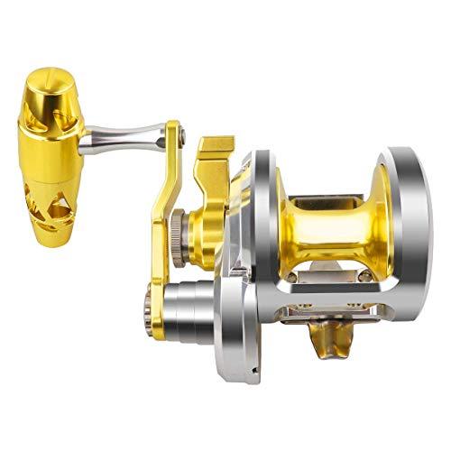 Carrete de pesca para pesca de agua salada con alarma de mordida - 8 + 1 + 1 NMB rodamientos japoneses, 88 lb - Estructura de aluminio de aviación súper fuerte, A12 Silver x Gold(5.7:1)