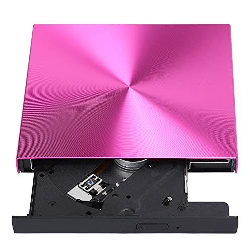 CD Drive, DVD CD Writer USB 3.0 External Burner Reader Player Record Driver, Slim CD DVD ROM Rewriter Burner High Speed Data Transfer for Laptop Desktop PC Windows 7/8.1/10 Linux(Rose Red)