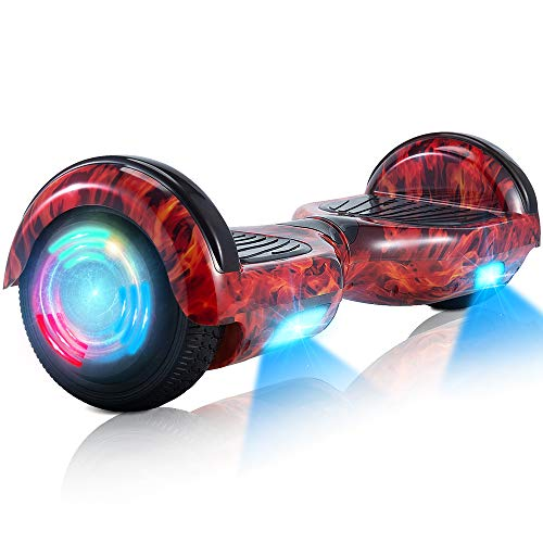 Hoverboard, 6,5 inch Tweewielige Zelf Balancing Hoverboards - LED Light Wheel Scooter voor Kids (vlam)
