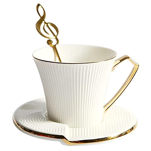 yunyu Taza y platillos de café de cerámica Europea de Lujo, 8,4 oz / 240 ml, Tazas Creativas de té de la Tarde con Leche y Cuchara para la Oficina y el hogar, diseño de Phnom Penh,