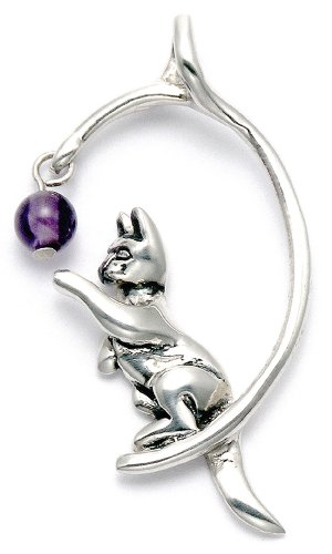 Wild Things Sterling Silver Cat Playing w/Purple Crystal Bead Pendant