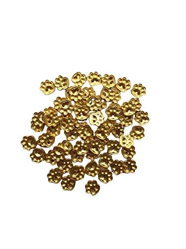 金色 足形ボタン約5mm 80個 足がた 極小 小さめ ハンドメイド材料 デコ材料 ドール用 人形用