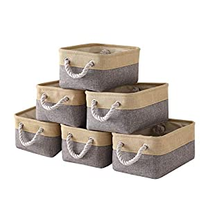 Locipe Small Storage Baskets Fabric Storage Baskets for Organizing,Collapsible Storage Bins Set Empty Gift Baskets with Rope Handles,Toy Storage, Nursery(6 Pack Gray White,11.8×7.9×5.2)