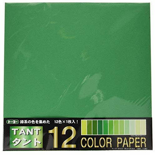 TOYO Tant12 Origami Color Paper 13.8inch square 12 sheets GREEN [Import from Japan]