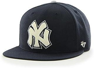 a02e2b2c72d03 New York Yankees MLB 47 Brand Cooperstown Hat Cap Navy Caterpillar Pro Wool  Flat Brim Adult