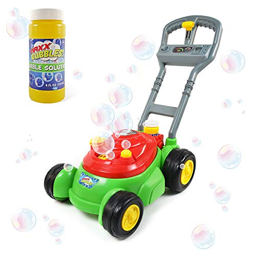 Sunny Days Entertainment Bubble-N-Go Deluxe Toy Bubble Lawn Mower with 4 oz Bubble Solution | No Batteries Required | Push Bubble Machine - Maxx Bubbles