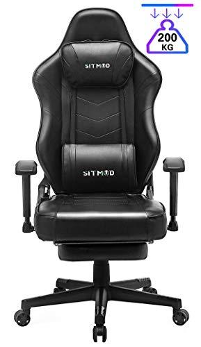 SITMOD Gaming-Stuhl, Gamer-Stuhl mit Massage, Computer Bürostuhl Ergonomischer Büro Lehnstuhl für PC, Game Sessel mit Vibration, Fußlehne und Lendenkissen, Gamer Recliner Stuhl Racer-Schwarz