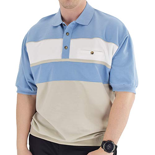 Classics by Palmland Horizontal French Terry Knit Banded Bottom Shirt 6090-BL2 (XXL, Light Blue)