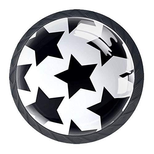 Juego de 4 pomos para armario de cocina de 1,18 pulgadas, botones de cristal para cajones con kit de herrajes para dormitorio, muebles de cocina, fondo blanco con diseño de estrellas negras