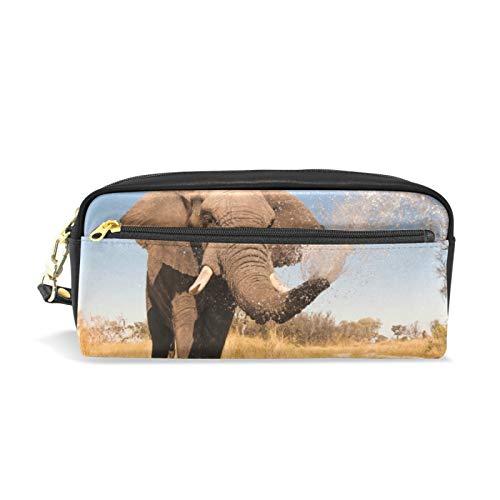 Estuches para lápices de gran capacidad/Estuche para lápices/Estuche para bolígrafos con múltiples compartimentos para niños y niñas Elefante rociando agua en su baúl