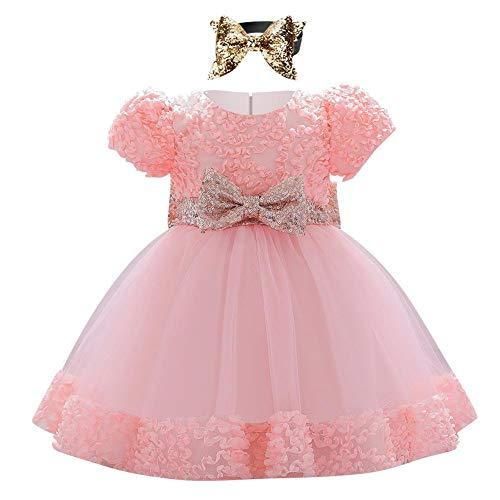 IBAKOM Baby Mädchen Prinzessin Kleid Geburtstag Hochzeit Partykleid Kurzarm Blumen Pailletten Bowknot Kleinkind Ballkleid Rosa 2 12-18 Monate