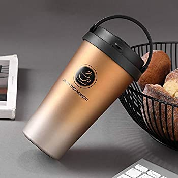 TOUARETAILS Stainless Steel Vacuum Insulated Travel Tea and Coffee Mug - Double Wall Insulated Cup for Hot & Cold Drinks, Travel Thermos Flask with Lid- Golden (500ML)