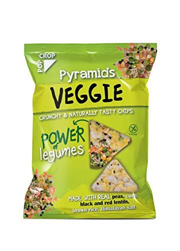 Piramidki VEGGIE | 8 x 25g | powoli wypiekane chipsy z zielonym grochiem i soczewicą | Bezglutenowe, Wegańskie, Bogate w naturalne Minerały | Bez dodatku oleju (nie smażone) | Bez sztucznych dodatków