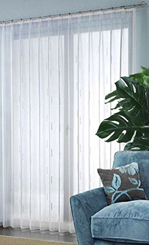 Fertigstore Ungarn mit Chenille Effektgarn und Faltenband Farbe weiss Größe HxB 245x600 cm