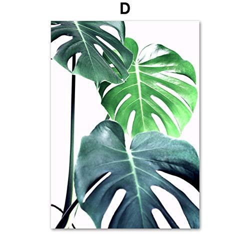 SDFSD Tropical Monstera Leaf Plant Nordic Carteles e Impresiones Wall Art Canvas Canvas Scandinavian Wall Pictures para la Sala de Estar Decoración 40 * 50 cm