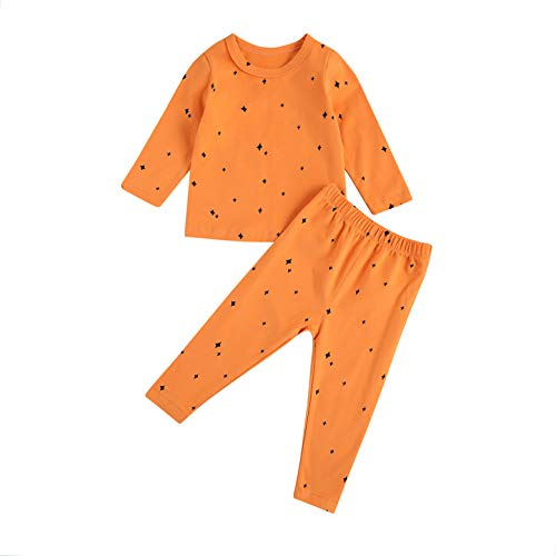 L&ieserram Ropa pijama en casa estampada Estrella Luna Punto Corazón 2 piezas de camisa de manga larga + pantalón bebé niña primavera otoño invierno Estrella 6 mes