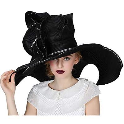 Koola Women Church Hat Derby Big Wide Brim Wedding Hat Cocktail Tea Party Cap