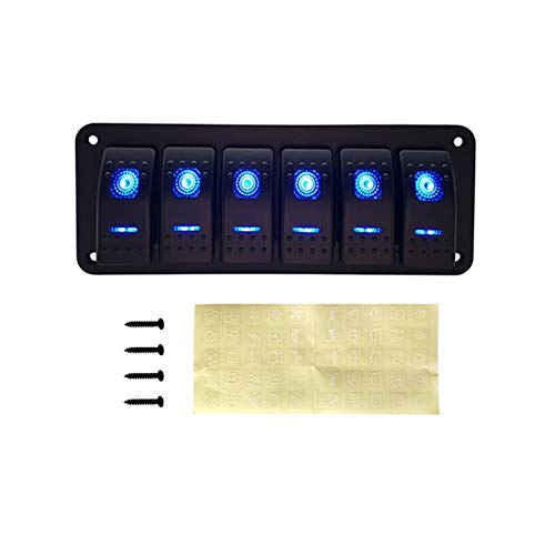Ljfeng. 2 3 4 5 6 5 6 Gang Dual LED BARCH Barca Rocker Pannello Interruttore Adatta per Camion Boat Car Switch Pannello Accendisigari Socket Interruttore Automatico (Color : 6 Gang Blue LED)