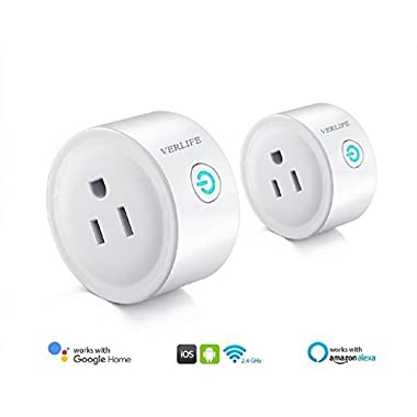 Smart Plug,Alexa WiFi Mini Smart Outlet,Working with Amazon Alexa Echo and Google Assistant,Easy to Use,No Hub Required Smart Socket,2 Pack,White,VERLIFE