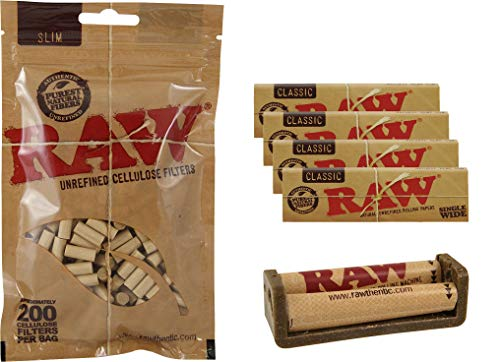 yaoviz® Set Raw Ecoplastic 70mm Zigaretten Drehmaschine aus Hanfplastik + 4X 50 RAW Single Wide 70mm Papers + 200 RAW Zellulose Slim Organic Filter 6mm Beutel
