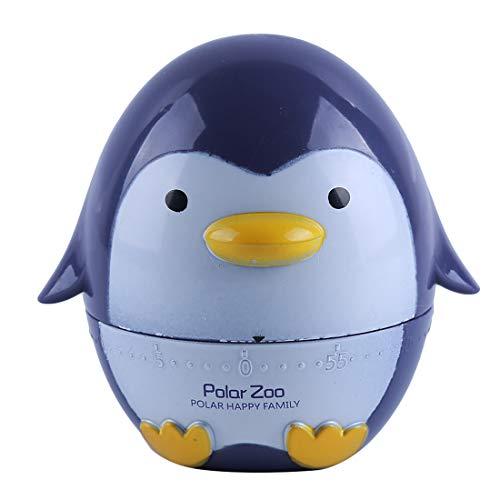 VWH Pinguin Form Timer Küche 60 Minute Kochen Mechanische Heimtextilien Tier Kunststoff Attraktives Design Lauter Akustischer Alarm(grau Blau)