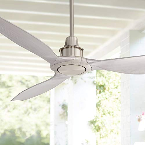 "58"" Interceptor Modern Outdoor Ceiling Fan with Remote Control Brushed Nickel Silver Blades Damp Rated for Patio Porch - Casa Vieja"