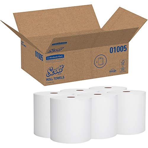 Scott Essential High Capacity Hard Roll Paper Towels (01005), White, 1000' / Roll, 6 Paper Towel Rolls / Convenience Case