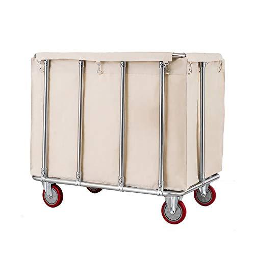 ZJM Beauty Salon Warenkorb Mobiler Wäschewagenwagen, 10 Röhren Verstärkter Wäschesortierer Utility Cart, Rollender Zimmerservice-Wagen, Blau/Braun/Beige (Color : Beige)