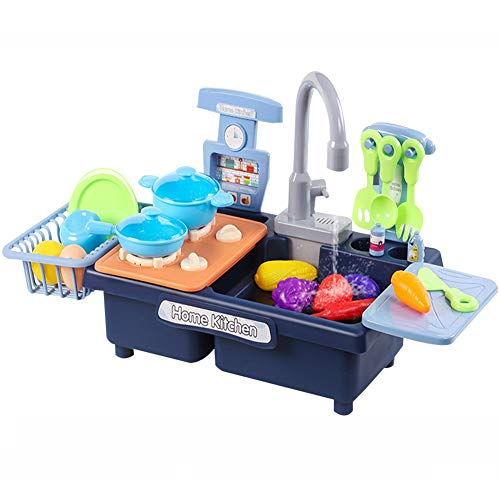 Graceru Juego de cocina para niños, lavabo, cocina de juguete de plástico con grifo, cocina de gas, accesorios de cocina para niñas, juguete de 3 años (azul)