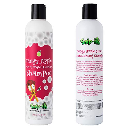 Snip-its 3 in 1 Tangy Apple Kids Body Wash, Shampoo, and Conditioner 10oz   Kids Shampoo and Hair Conditioner - Natural Baby Shampoo - Great for Swimmers - Made in the USA   Salon Quality Kid Friendly