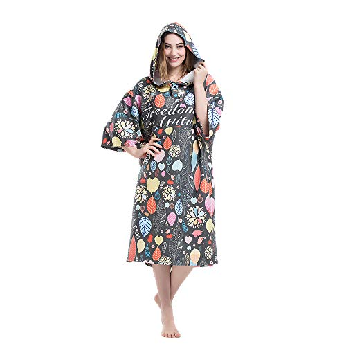 Photo of Womens Beach Surfing Swimming Robe, Light Weight Wetsuit Changing towel poncho with hood 3/4 Sleeve