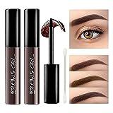 KXAMELIE 2 Pcs Peel off Tattoo Eyebrow Gel, Natural Eyebrow Cream, Long-Lasting Waterproof Sweat-Proof Eyebrow Tint,Peel Off Brow Tattoo Makeup, Eyebrow Gel Cream-Ash Black,2.64oz