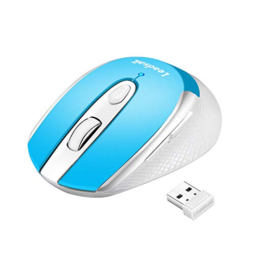 LeadsaiL Leise Funkmaus, Kabellose Muas 2.4G 1600 DPI 6 Tasten Optische Laptop Maus, Schlanke klick Computermaus, PC Maus mit USB Nano Empfänger, Eine AA-Batterie Enthalten (Light Blue)