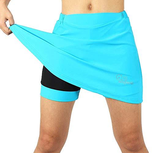 LXZH Fahrradrock Damen Gepolstert mit Innenhose, 2 in 1 Sport Hosenrock Radlerhose mit 3D Gel Sitzpolster, MTB Hose Shorts Atmungsaktive Schnelltrockende,Blau,XL