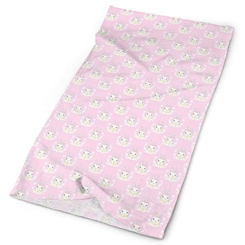 GUUi Headwear Headband Head Scarf Wrap Sweatband,Baby Rabbit with Ribbons Floral Spring Themed Soft Pink Tones Animals,Sport Headscarves for Men Women