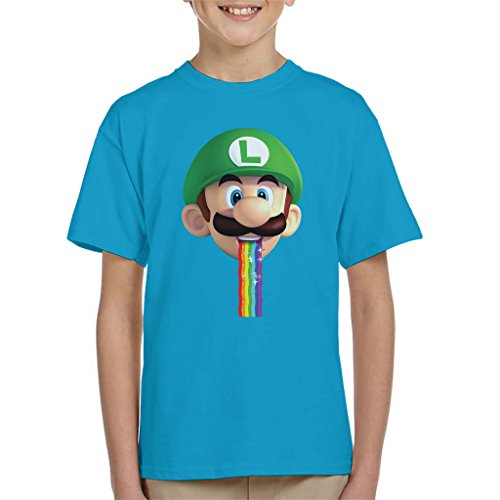 Super Mario Luigi Puking Rainbow Snapchat Filter Kid's T-Shirt