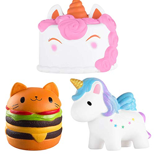 acetek Squishy Toys Cute Kawaii Slow Rising with Cream Scented Party Favor Lovely Toy Kids Gift Fidget Toy Miniature Novelty Toys Decoration (3 pcs)
