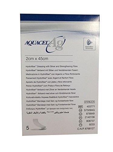 Vendaje para heridas Aquacel Ag Hydrofiber con fibra de refuerzo plateada, de 2 x 45cm, 5 unidades